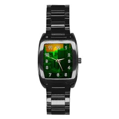 Green Building City Night Stainless Steel Barrel Watch