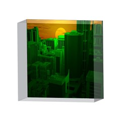 Green Building City Night 4 x 4  Acrylic Photo Blocks