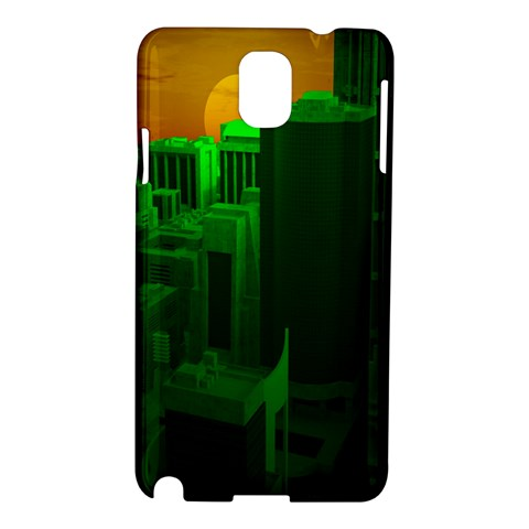 Green Building City Night Samsung Galaxy Note 3 N9005 Hardshell Case