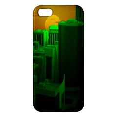 Green Building City Night iPhone 5S/ SE Premium Hardshell Case