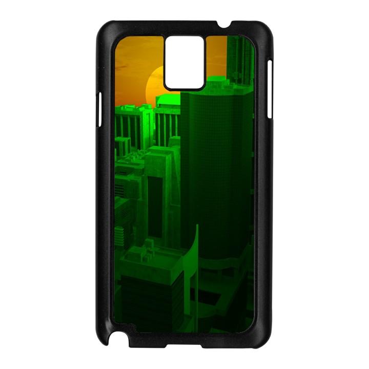 Green Building City Night Samsung Galaxy Note 3 N9005 Case (Black)