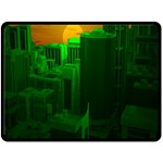 Green Building City Night Double Sided Fleece Blanket (Large)  80 x60 Blanket Front