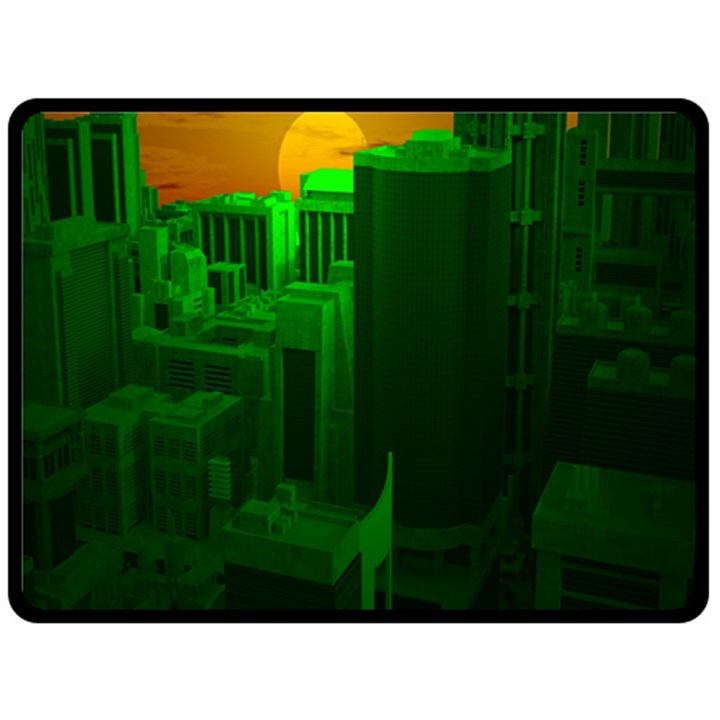 Green Building City Night Double Sided Fleece Blanket (Large)
