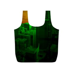Green Building City Night Full Print Recycle Bags (S)