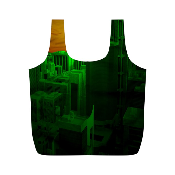 Green Building City Night Full Print Recycle Bags (M)