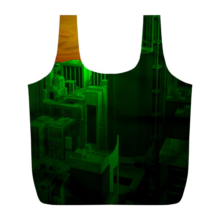 Green Building City Night Full Print Recycle Bags (L)