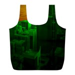 Green Building City Night Full Print Recycle Bags (L)  Back