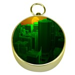 Green Building City Night Gold Compasses Front