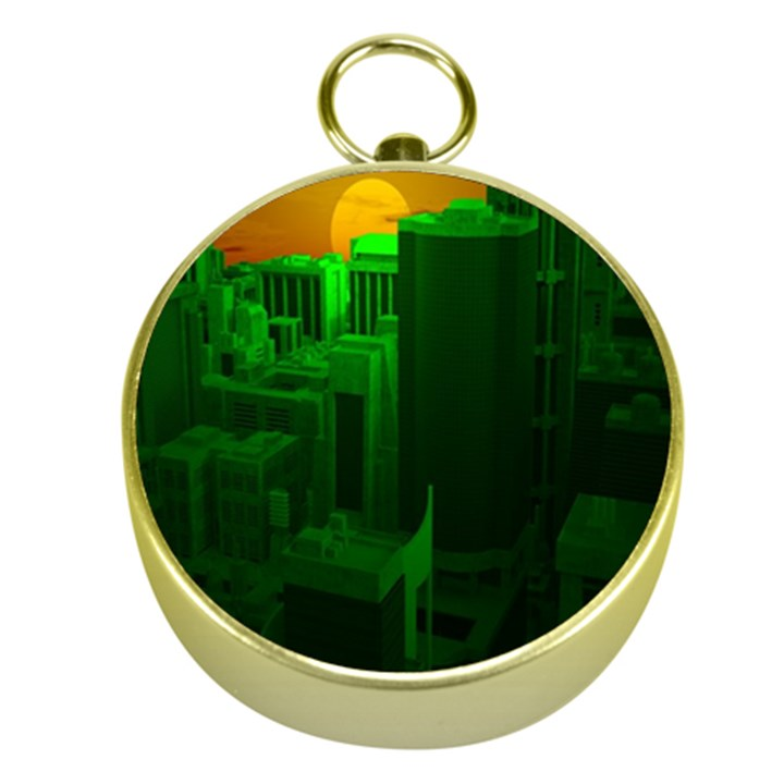 Green Building City Night Gold Compasses