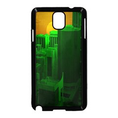 Green Building City Night Samsung Galaxy Note 3 Neo Hardshell Case (Black)