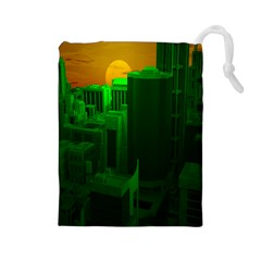 Green Building City Night Drawstring Pouches (Large)