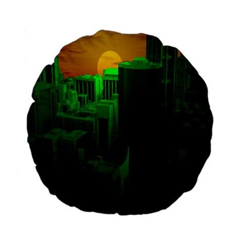 Green Building City Night Standard 15  Premium Flano Round Cushions