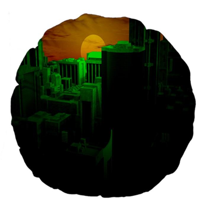 Green Building City Night Large 18  Premium Flano Round Cushions