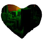 Green Building City Night Large 19  Premium Flano Heart Shape Cushions Front