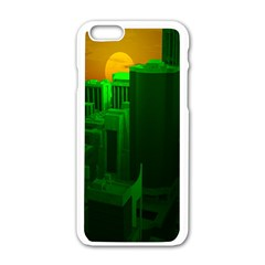 Green Building City Night Apple iPhone 6/6S White Enamel Case