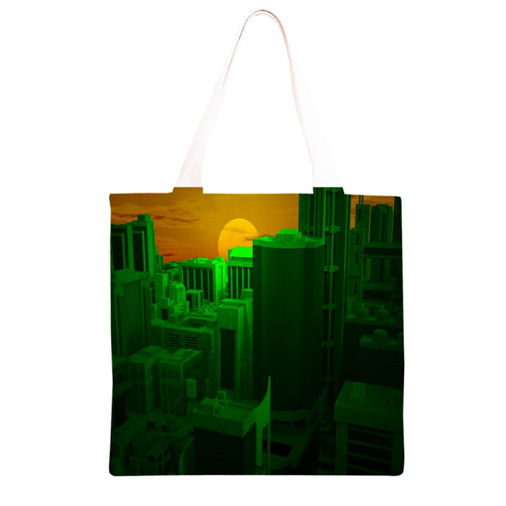 Green Building City Night Grocery Light Tote Bag
