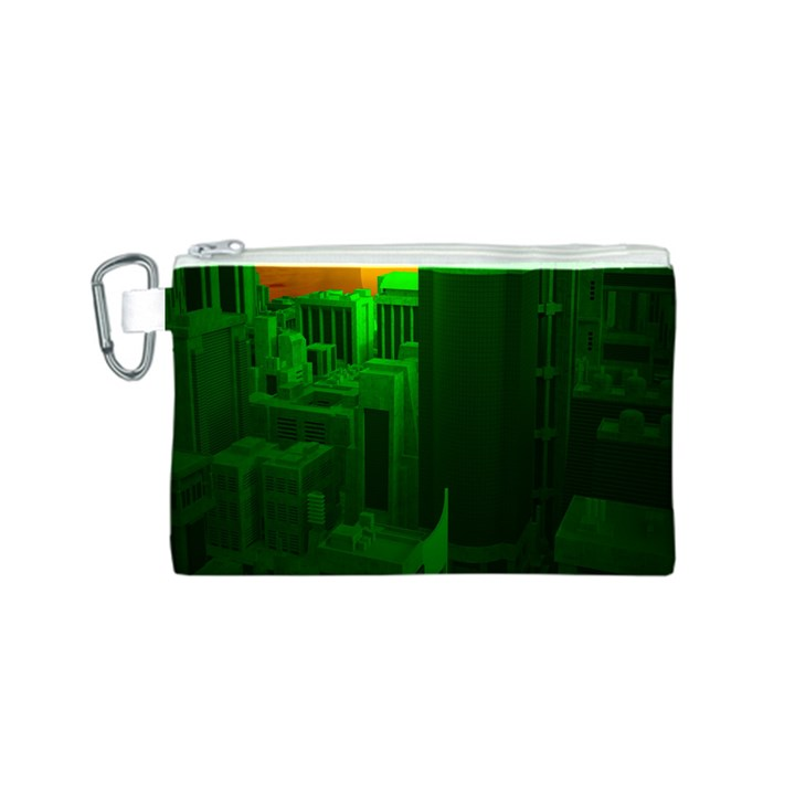 Green Building City Night Canvas Cosmetic Bag (S)