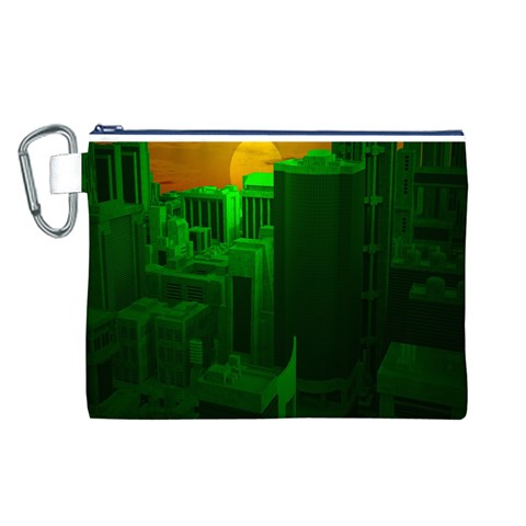 Green Building City Night Canvas Cosmetic Bag (L)