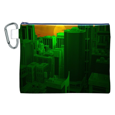 Green Building City Night Canvas Cosmetic Bag (XXL)