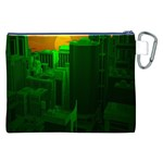 Green Building City Night Canvas Cosmetic Bag (XXL) Back