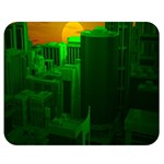 Green Building City Night Double Sided Flano Blanket (Medium)  60 x50 Blanket Front