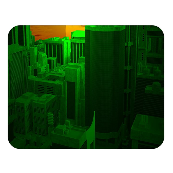 Green Building City Night Double Sided Flano Blanket (Large)