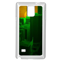 Green Building City Night Samsung Galaxy Note 4 Case (White)