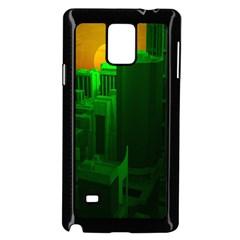 Green Building City Night Samsung Galaxy Note 4 Case (Black)