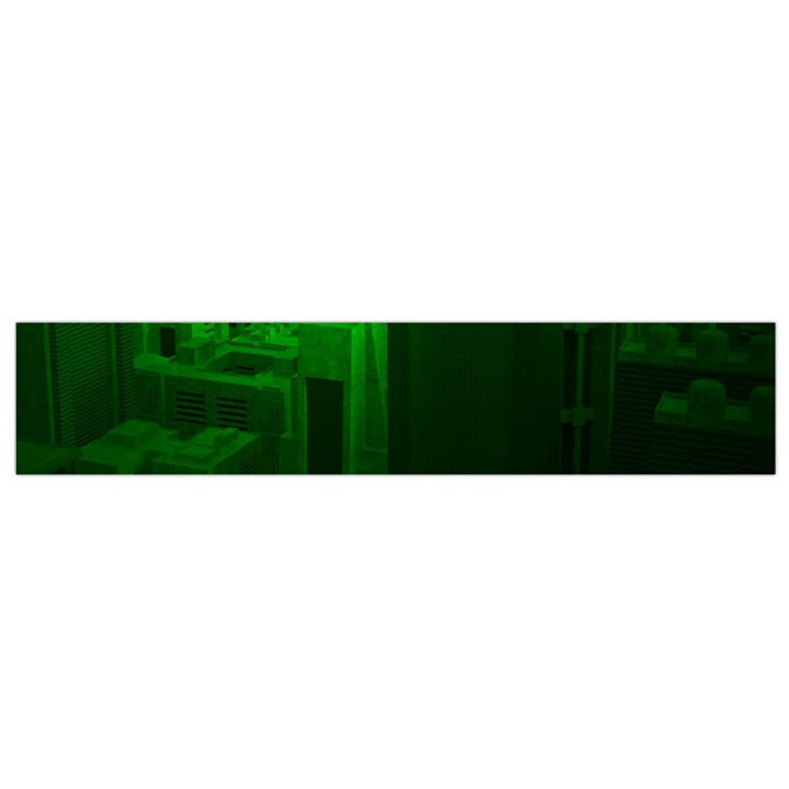 Green Building City Night Flano Scarf (Small)