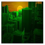 Green Building City Night Large Satin Scarf (Square) Front
