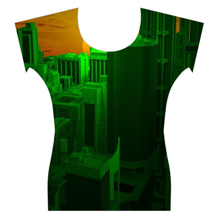 Green Building City Night Women s Cap Sleeve Top