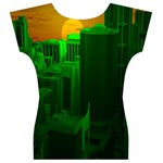 Green Building City Night Women s V-Neck Cap Sleeve Top Back