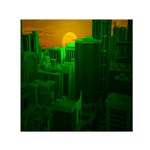 Green Building City Night Small Satin Scarf (Square) Front
