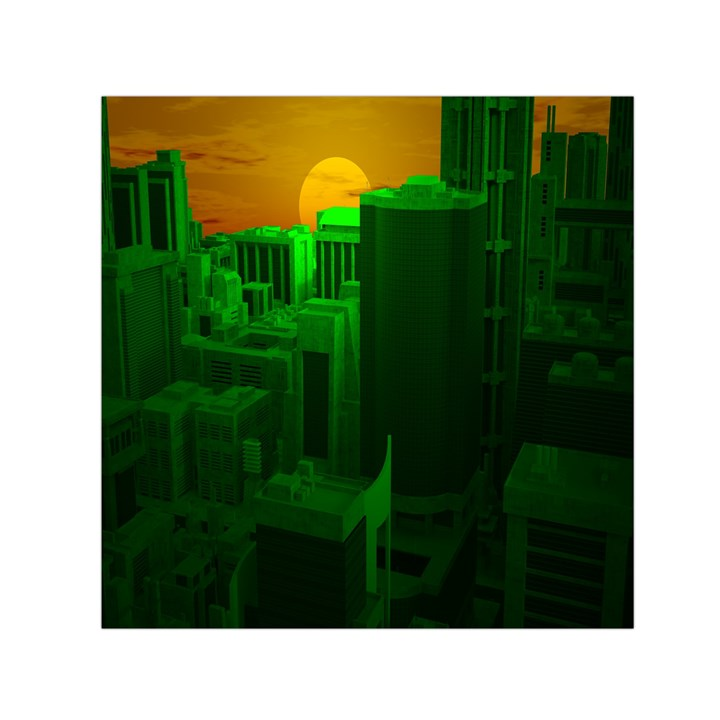 Green Building City Night Small Satin Scarf (Square)