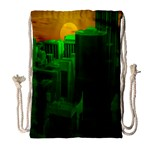 Green Building City Night Drawstring Bag (Large) Front