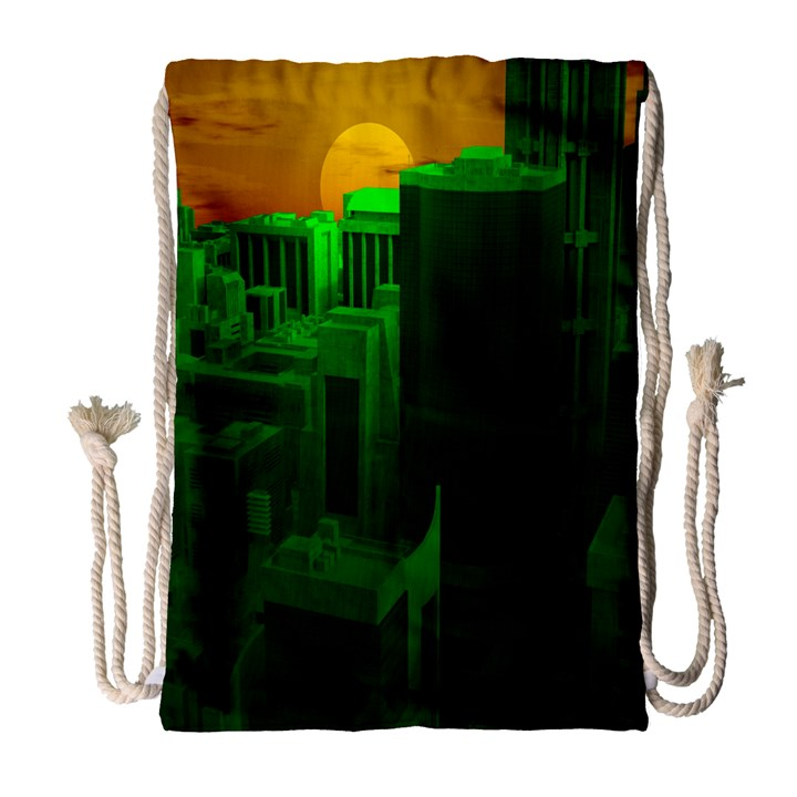 Green Building City Night Drawstring Bag (Large)