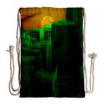 Green Building City Night Drawstring Bag (Large) Back
