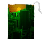 Green Building City Night Drawstring Pouches (XXL) Front