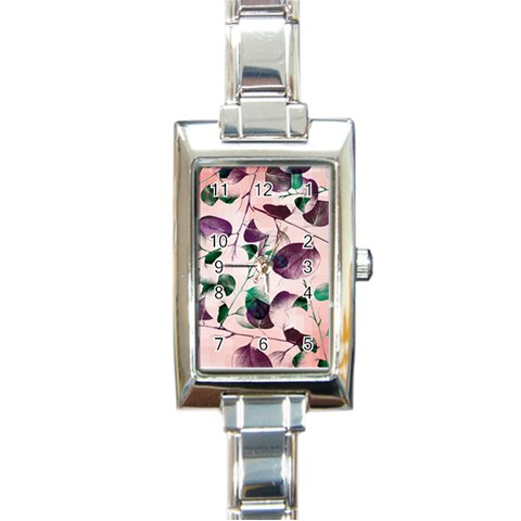 Spiral Eucalyptus Leaves Rectangle Italian Charm Watch