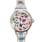 Spiral Eucalyptus Leaves Round Italian Charm Watch Front
