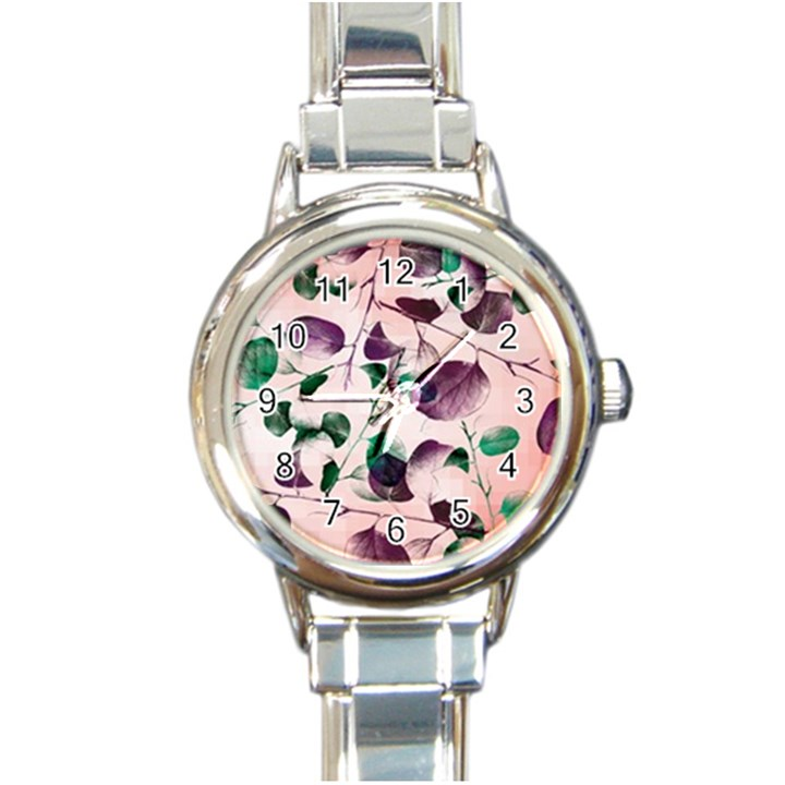 Spiral Eucalyptus Leaves Round Italian Charm Watch