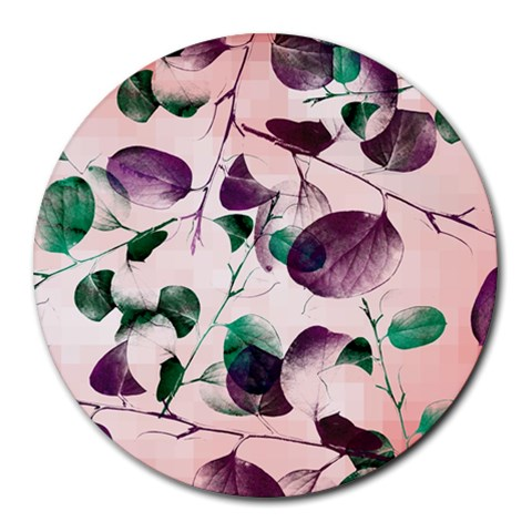 Spiral Eucalyptus Leaves Round Mousepads