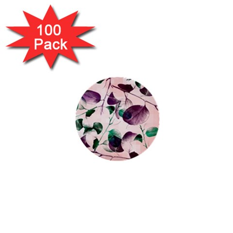 Spiral Eucalyptus Leaves 1  Mini Buttons (100 pack)