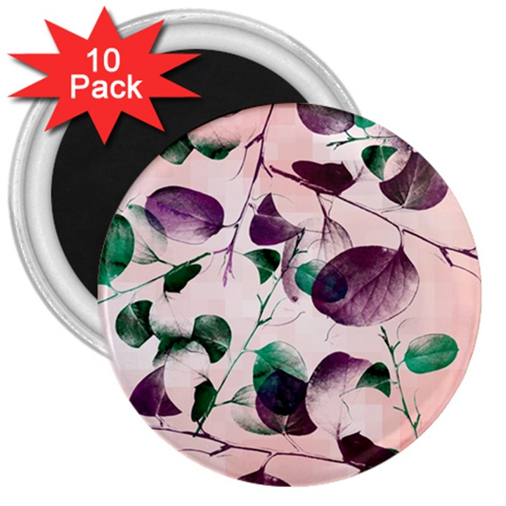 Spiral Eucalyptus Leaves 3  Magnets (10 pack)