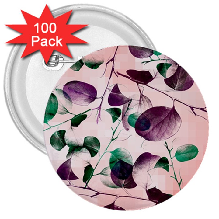 Spiral Eucalyptus Leaves 3  Buttons (100 pack)