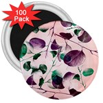 Spiral Eucalyptus Leaves 3  Magnets (100 pack) Front