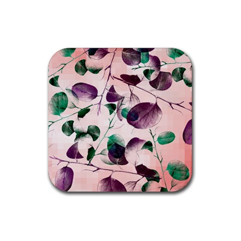 Spiral Eucalyptus Leaves Rubber Coaster (Square)