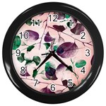 Spiral Eucalyptus Leaves Wall Clocks (Black) Front