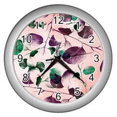 Spiral Eucalyptus Leaves Wall Clocks (Silver)