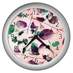 Spiral Eucalyptus Leaves Wall Clocks (Silver)  Front